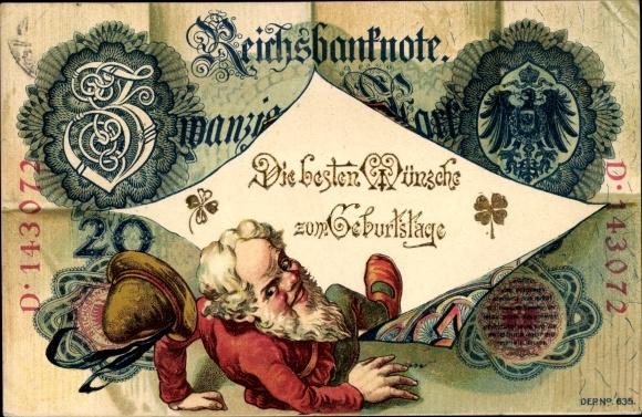 Geldschein Ak Glückwunsch Geburtstag, Reichsbanknote, Zwerg