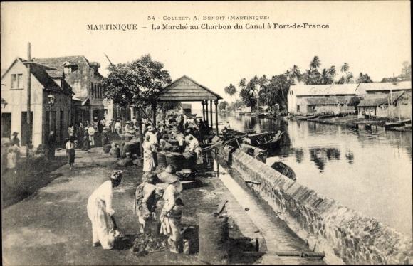Ak Fort de France Martinique, Le Marché au Charbon du Canal