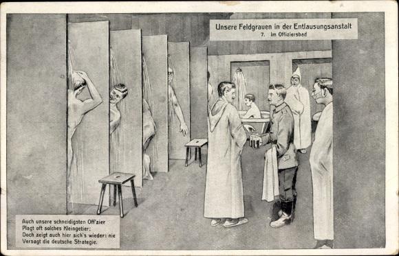 Ak Feldgrauen in der Entlausungsanstalt, Offiziersbad