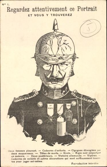 Künstler Ak Regardez attentivement ce Portrait, Kaiser Wilhelm II., Metamorphose, I. WK