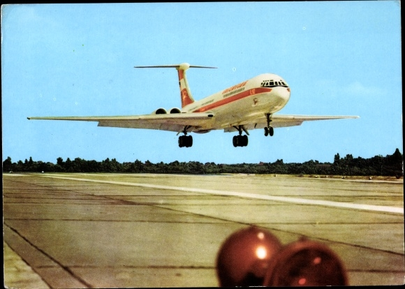 Ak Deutsches Passagierflugzeug, Interflug, Turbinenlufstrahlverkehrsfluzeug Iljuschin IL 62