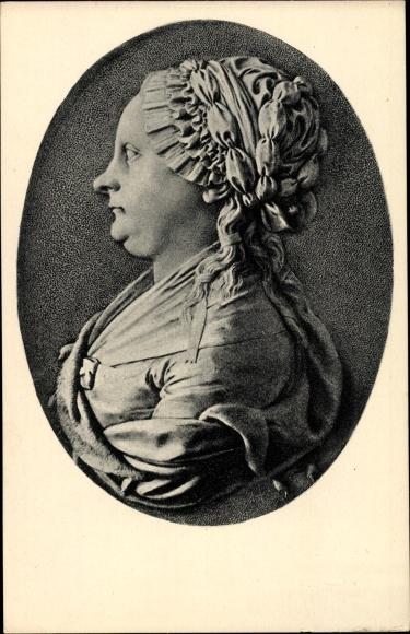 Ak Mutter von Schriftsteller Johann Wolfgang von Goethe, Relief von J. P. Melchior, Ackermann 1769