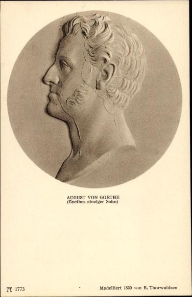 Ak August von Goethe, Sohn, Relief von Thorwaldsen, Ackermann 1773