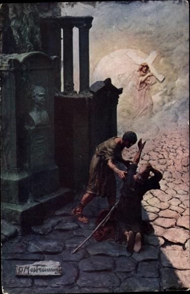 Künstler Ak Mastroianni, Domenico, Szene aus Quo Vadis, Jesus mit Kreuz