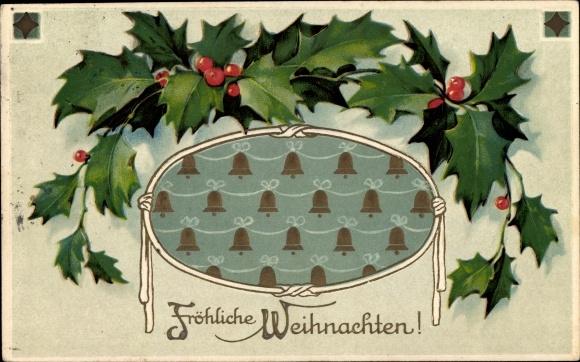 Präge Ak Frohe Weihnachten, Stechpalmen, Glocken