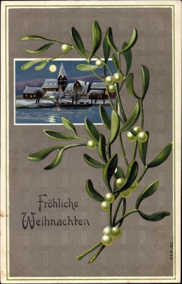 Präge Ak Frohe Weihnachten, Mistelzweig, Winterliches Dorf