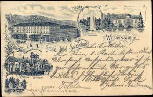 Vorläufer Litho Kassel in Hessen, Wilhelmshöhe, Hotel Schombardt, Löwenburg, Fontäne