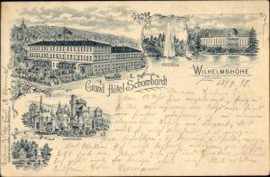 Litho Kassel in Hessen, Wilhelmshöhe, Hotel Schombardt, Löwenburg, Fontäne
