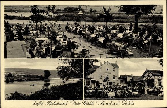 Ak Kassel in Hessen, Café Neue Mühle, Terrasse, Fuldapartie