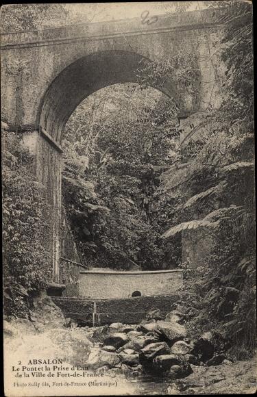 Ak Absalon Martinique, Le Pont et la Prise d'Eau de la Ville Fort de France