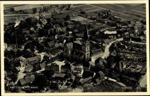 Ak Mettingen Nordrhein Westfalen, Fliegeraufnahme, Kirche, Totalansicht