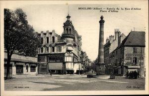Ak Moulins Allier, Entrée de la Rue d'Allier, Place d'Allier