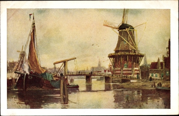 Künstler Ak Cassiers, Windmühlen, Hafen, Niederlande