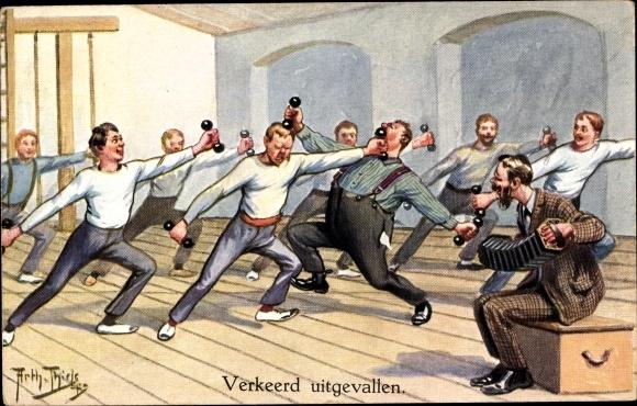 Künstler Ak Thiele, Arthur, Verkeerd uitgevallen, Turner, Hantel, Akkordeon