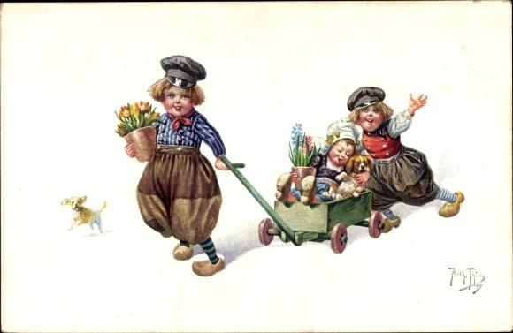 Künstler Ak Thiele, Arthur, Kinder in Volkstrachten