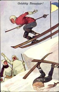 Künstler Ak Schönpflug, Fritz, Gelukkig Nieuwjaar, Glückwunsch Neujahr, Skifahrer