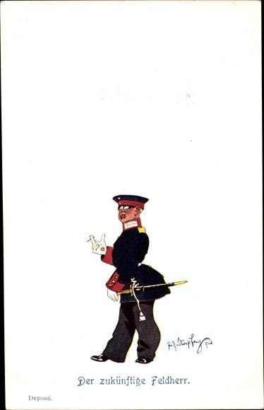Künstler Ak Schönpflug, Fritz, Der zukünftige Feldheer, Soldat in Uniform