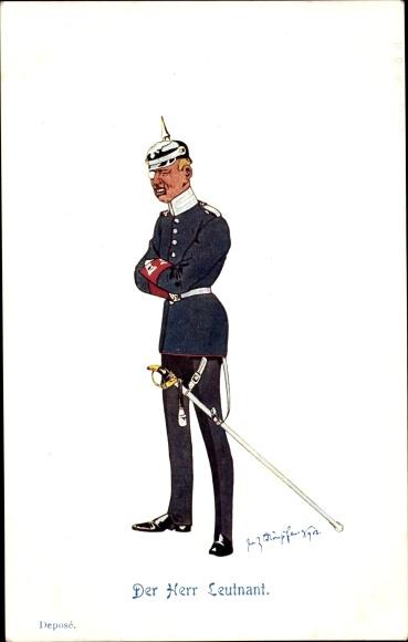 Künstler Ak Schönpflug, Fritz, Der Herr Leutnant, Uniform, Säbel, Pickelhaube