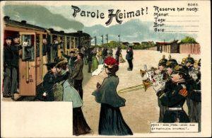 Litho Parole Heimat, Reservisten beim Abschied, Zug