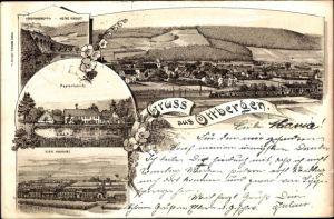 Litho Ottbergen Höxter Nordrhein Westfalen, Nethe Viadukt, Papierfabrik, Klein Hamburg