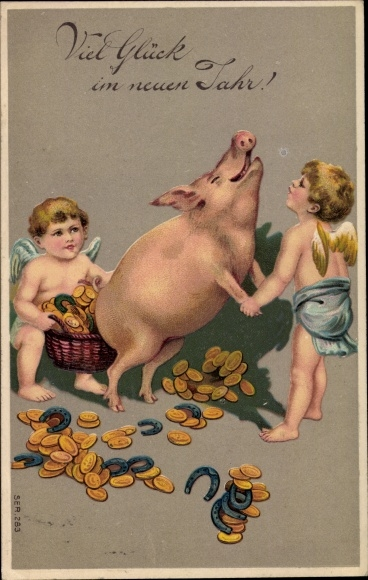 Präge Ak Glückwunsch Neujahr, Schwein, Engel, Hufeisen, Goldmünzen