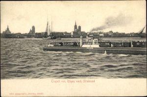Ak Stralsund in Mecklenburg Vorpommern, Traject von Rügen nach Stralsund, Eisenbahn