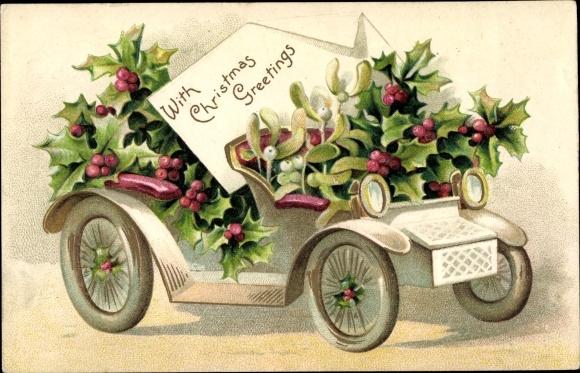 Präge Ak Frohe Weihnachten, Automobil, Misteln, Stachelpalme