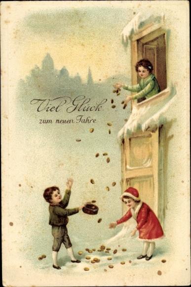 Präge Ak Glückwunsch Neujahr, Geldmünzen, Schneelandschaft