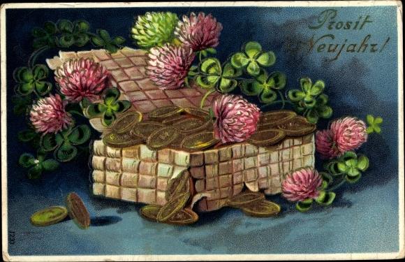 Präge Gold Ak Glückwunsch Neujahr, Kleeblätter, Geldmünzen, Korb