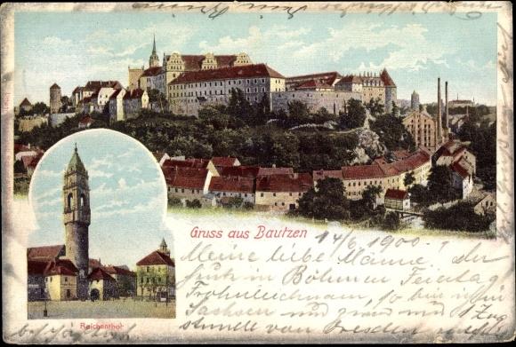 Ak Bautzen in der Lausitz, Totalansicht der Stadt, Reichentor, Rathausturm