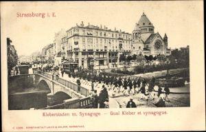 Ak Strasbourg Straßburg Elsass Bas Rhin, Kleberstaden m. Synagoge