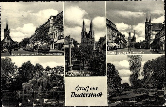 Ak Duderstadt Eichsfeld Niedersachsen, Marktstraße u. St. Servatiuskirche, St. Cyriakuskirche