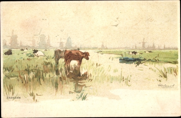 Künstler Litho Cassiers, Zaandam Zaanstad Nordholland, Kuhweide, Deich, Stadtbild