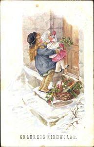 Künstler Ak Cownie, Florence, Glückwunsch Neujahr, Gelukkig Nieuwjaar, Kinder an der Tür