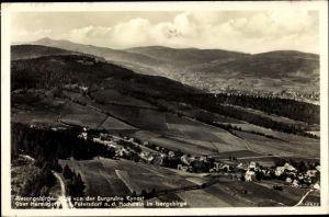Ak Sobieszów Hermsdorf Kynast Riesengebirge Schlesien, Panorama m. Petersdorf n. d. Hochstein
