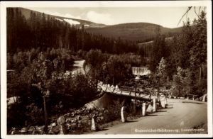 Ak Brückenberg b. Krummhübel Riesengebirge Schlesien, Lomnitzpartie