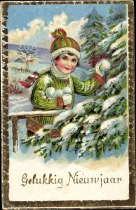 Präge Ak Glückwunsch Neujahr, Gelukkig Nieuwjaar, Junge mit Schneebällen