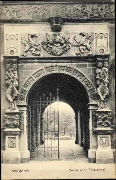 Ak Wismar in Mecklenburg Vorpommern, Portal vom Fürstenhof