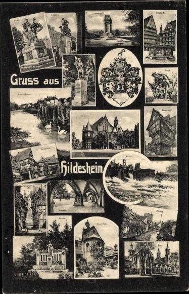 Ak Hildesheim in Niedersachsen, Bismarcksäule, Zuckerhut, am Markt, Renata, 1000j. Rose, Wappen