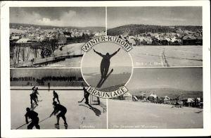 Ak Braunlage im Oberharz, Wintersport, Skispringer, Eishockey, Wurmberg, Skiwiese, Achtermann