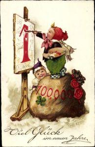 Ak Glückwunsch Neujahr, Kalender, Geldsack, Kleeblatt, Maler, Staffelei, Palette