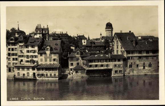 Ak Zürich Stadt Schweiz, Schipfe, Städtisches Laboratorium, Badeanstalt