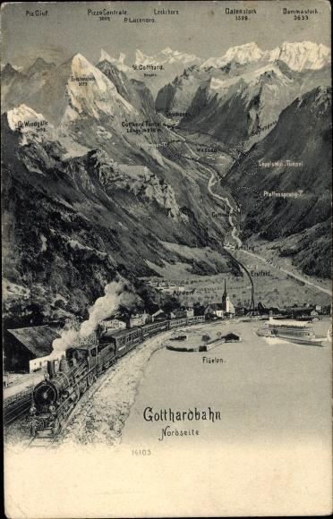 Ak Altdorf Kt. Uri Schweiz, Gotthardbahn, Flüelen, Pfaffensprung, Leckihorn, St. Gotthard