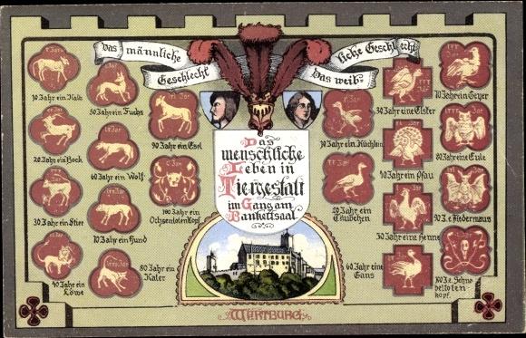 Ak Lutherstadt Eisenach in Thüringen, Das menschliche Leben in Tiergestalt, im Gang am Bankettsaal