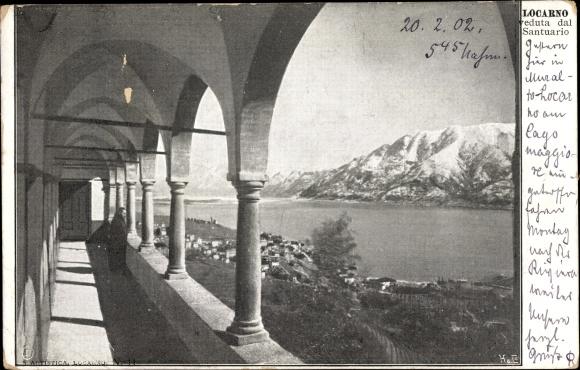 Ak Locarno Kt. Tessin Schweiz, Veduta dal Santuario