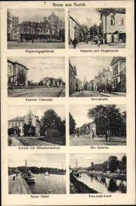 Ak Aurich in Ostfriesland, Regierungsgebäude, Kaserne u. Hauptwache, Ems Jade Kanal, Kirchstraße