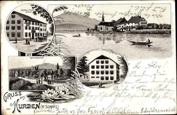 Litho Hurden Freienbach Kt. Schwyz Schweiz, Gasthof zum Rössli, Gartenwirtschaft