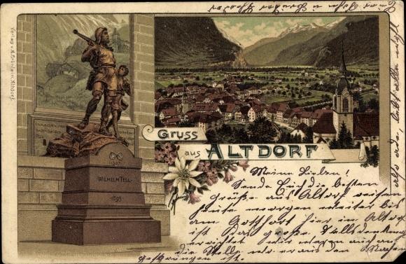 Litho Altdorf Kt. Uri Schweiz, Wilhelm Tell Denkmal, Totalansicht