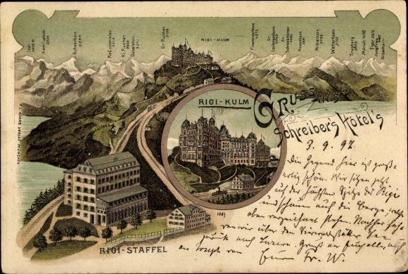 Litho Küssnacht Kt. Schwyz Schweiz, Schreiber's Hotels, Rigi Staffel, Rigi Kulm