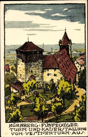 Steindruck Ak Nürnberg in Mittelfranken Bayern, Fünfeckiger Turm, Kaiserstallung, Vestner Turm